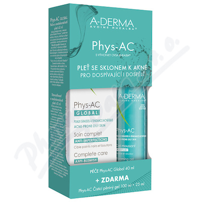 A-DERMA Phys-AC Global 40ml + Čistící gel 100ml + Gel 25ml