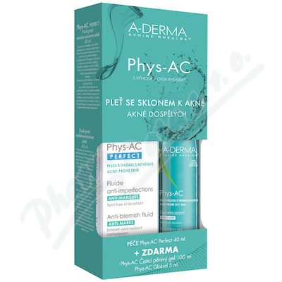 A-DERMA Phys-AC Perfect Fluid 40ml + Čistící gel 100ml + Global 5ml